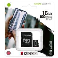 Карта памяти MicroSD 16Gb Kingston (SDCS2/16GB microSDHC Class 10 UHS-I U1 Canvas Select (SD адаптер) 100MB/s)